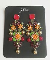 J.Crew Stone Drop Statement Earrings Neon Flamingo Multi-Color with Dust Bag New