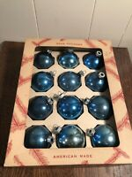 Vintage COBY Glass Christmas Tree Ornaments Blue w/Box