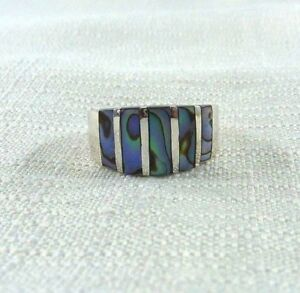 Natural Abalone Shell Inlay 925 Sterling Silver Ring US (8 1/4) AU (Q 1/2)