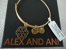Alex and Ani ENDLESS KNOT III Russian Gold Charm Bangle New W/ Tag Card & Box