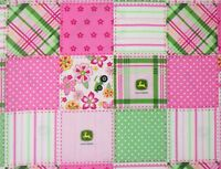 """FLORAL MADRAS JOHN DEERE PINK FABRIC  TRACTOR FARM SPRINGS CREATIVE  15"""" REMNANT"""