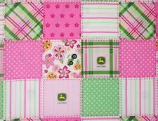 """FLORAL MADRAS JOHN DEERE PINK FABRIC  TRACTOR FARM SPRINGS CREATIVE  17"""" REMNANT"""