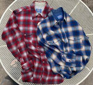 Two Vintage Wool Pendleton Shadow Plaid Shirts XL