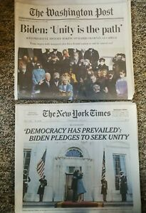 Washington Post & New York Times Newspaper Biden Inaugurated, January 21,2021