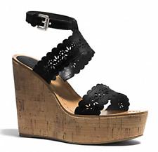 COACH Gena Womens Black Wedge Sandal Sz 8.5 1931