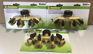 3 Pack Melnor 9009 4-Way Brass Connectors Attach Up To 4 Hoses To 1 Faucet(H5)