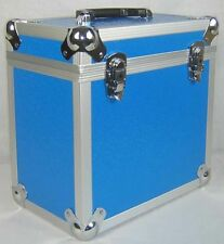 "DJ 12"" LP VINYL RECORD ALUMINIUM STORAGE RECORD FLIGHT CASE / BOX *BLUE 50* NEO"