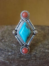 Native American Jewelry Sterling Silver Turquoise and Coral Ring! Size 6 1/2 Run