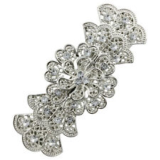 BARRETTE HAIR CLIPS SILVER HAIR BARRETTE FRENCH CLIP BOW SLIDE PRETTY DIAMANTES