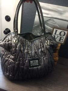 Beverly-Hills Jeans Gray Quilted Logo Double Handle XLarge Handbag Tote PreOwned