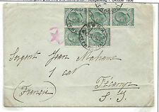 FRANCOBOLLI 1918/19 5 CENTESIMI VISTTORIO EMANUELE III 5 VALORI SU BUSTA 8925