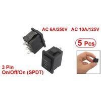 5 pcs SPDT On/Off/On Mini Black 3 Pin Rocker Switch AC 6A/250V 10A/125V P9F4