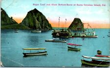 Old California Postcard Sugar Loaf and Glass Bottom Boats at Catalina Island CA