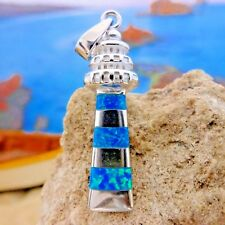 Brilliant Sterling Silver Blue Opal Lighthouse Pendant