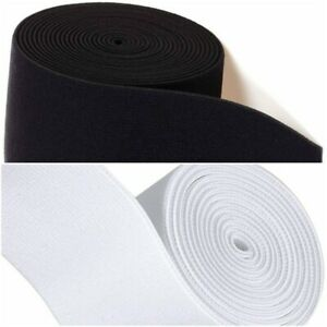 Black &White 2 inch wide 50mm Flat Woven Elastic Sewing Craft Tailor Dressmaking