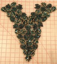 6 beaded sequins bodice applique green & gold subtle iridescent accent 15""
