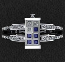 Cetrified 4Ct Blue Vintage Doctor Diamond Engagement Party Ring 14k White Gold