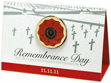 2011 $5 11.11.11 Remembrance Day Red Poppy Coin on Card Uncirculated Coin
