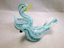 Italian Murano Art Glass blue white  Latticino birds   duck   authentic  italy!