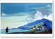 "Pilgrim of the Radiant City. By Nicholas Roerich. Fine art print NEW 20 x 28 """