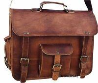 NEW Large Brown Vintage Handcrafted Leather Sling Satchel Briefcase Laptop Bag