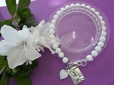 Hope Bracelet W/Ribbon Charm/Heart Lung Cancer Awareness White Beaded