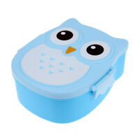 Cartoon Owl Lunch Box Food Fruit Storage Container Portable Bento Box(Blue) #Z