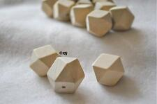 60 Unfinished Geometric Wood Wooden Beads Faceted 20 mm polygon
