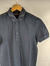 All Saints Sandringham Short Sleeve Men's Polo Shirt Dark Blue XS