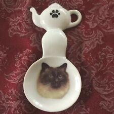 Himalayan Cat New Handmade Ceramic Porcelain Tea Bag Holder Spoon Rest Pet