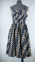 FRENCH CONNECTION Rabari Blue Printed Fit & Flare Summer Strappy Dress UK 12