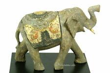 Elefant aus Holz geschnitzt antik grau bemalt auf Sockel 13/19cm Handarbeit Bali