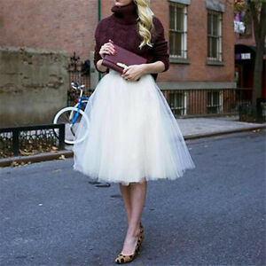 Wedding 5 Layers Long Tulle Tutu Skirt Petticoat Prom Party Ball Gownwomen