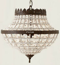 POTTERY BARN Dalila Beaded Crystal Pendant Chandelier, NEW