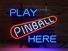 "New Play Pinball Here Neon Sign 20""x16"" Decor Bar Pub Gift Light Lamp"