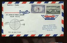 US First Pan AM Polar Flight Cover 1957 Seattle franked with #921 Korea