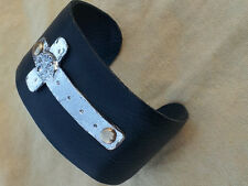 Hammered Cross Cuff Bracelet Black Leather Worn Silver FREE SHIPPING New Artisan