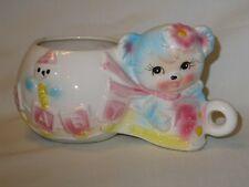 Vintage Rubens Big Eyed Blue Teddy Bear Baby Rattle Nursery Planter Japan 1950's