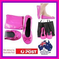 Foldable ballet Flats folding Expandable BAG Pink plus sizes shoes 8 9 10 11 12