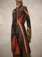 CHIC VINTAGE ROBE CRAVATE POIS 1970 VTG DRESS 70s POLKA MOD GRAPHIC KLEID (36)