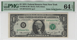 1974 $1 Federal Reserve Note New York Fr.1908-B Radar Serial Number PMG 64 EPQ