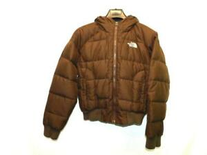 The North Face S Woman Dark Brown Down Puffer Coat With Hood Knit Waist Winter S