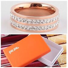 FOLLI FOLLIE CLASSY RING Rose Gold Tone Crystal Band-Size 54- RV $90-NEW!