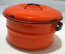 Vtg Orange and Black Enamelware Pot w Lid  Pumpkin Graniteware Cookware Pumpkin