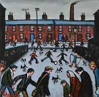 Vibrant James Downie Original Oil Painting - Busy Northern Street Scene