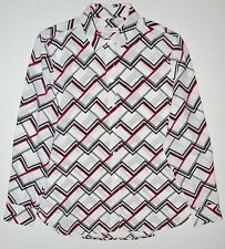EQUIPMENT Leema Chevron Zigzag Print Silk Shirt Blouse Size Small S