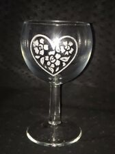Hand Engraved Wine Love Heart Floral Gift Glass Custom Valentines Occasion