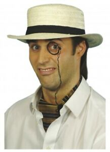 Straw Boater with Black Band Old School Costume Hat