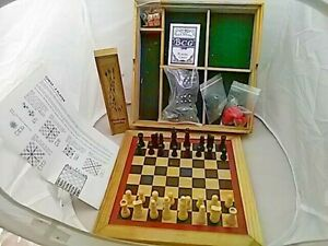 Six in One Games Compendium in Wooden Case Backgammon Chess Dominoes Draughts