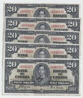 1937 $20 Canada Bank Note Coyne Towers Prefix L/E - F/VF